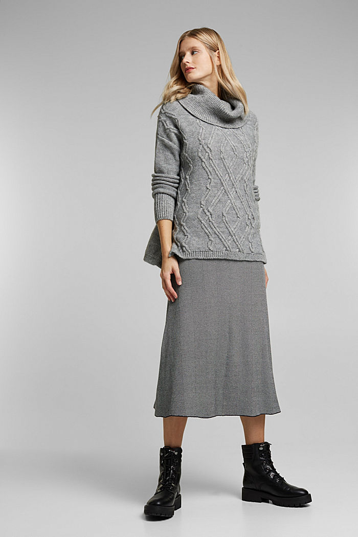 Wool and alpaca blend: cable knit roll neck jumper, LIGHT GREY, detail image number 1