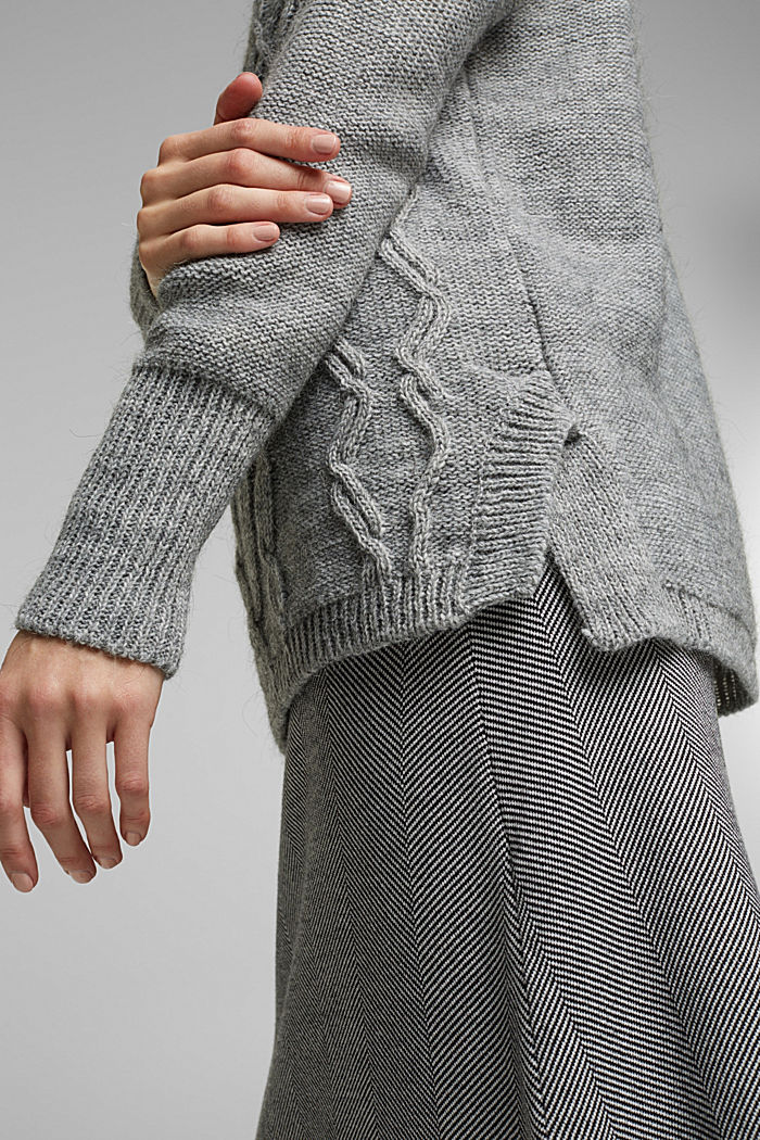 Wool and alpaca blend: cable knit roll neck jumper, LIGHT GREY, detail image number 2