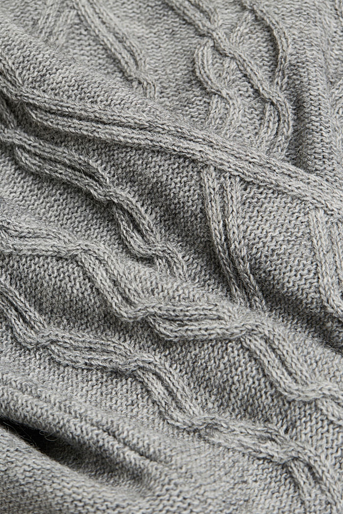 Wool and alpaca blend: cable knit roll neck jumper, LIGHT GREY, detail image number 4