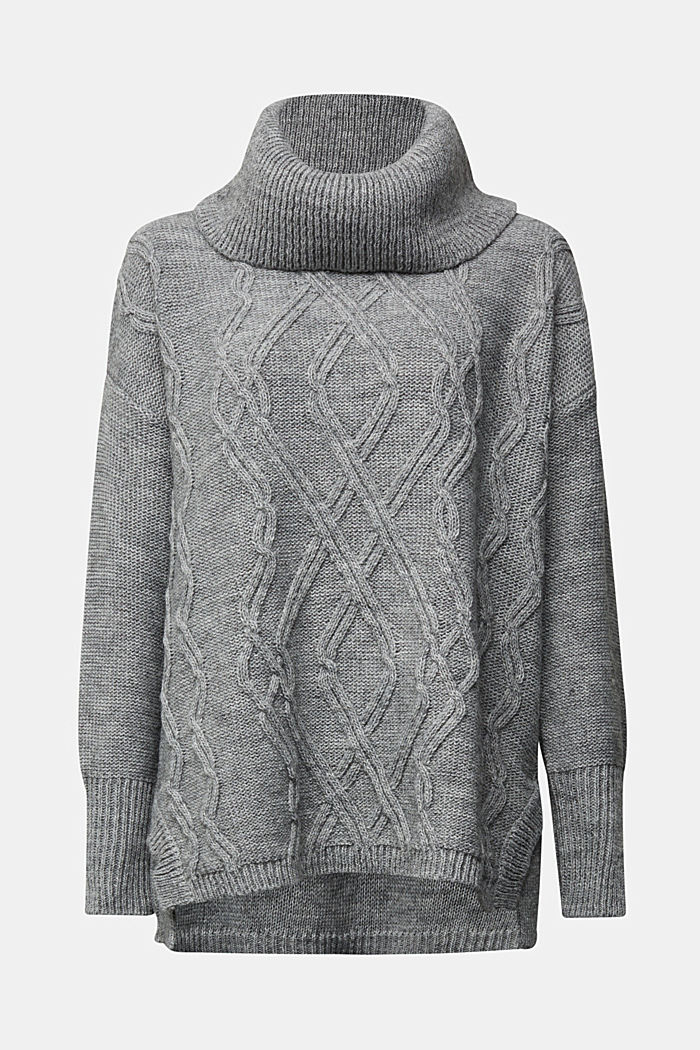 Wool and alpaca blend: cable knit roll neck jumper, LIGHT GREY, detail image number 5