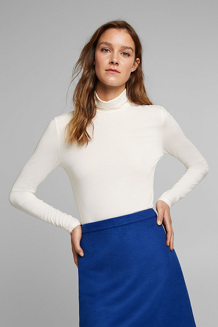 Wool blend: long sleeve top with LENZING™ ECOVERO™, OFF WHITE, detail image number 0