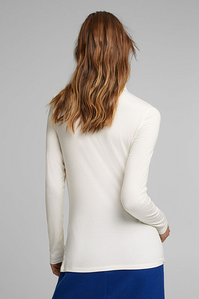 Wool blend: long sleeve top with LENZING™ ECOVERO™, OFF WHITE, detail image number 3