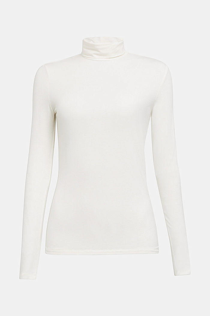 Wool blend: long sleeve top with LENZING™ ECOVERO™, OFF WHITE, detail image number 6