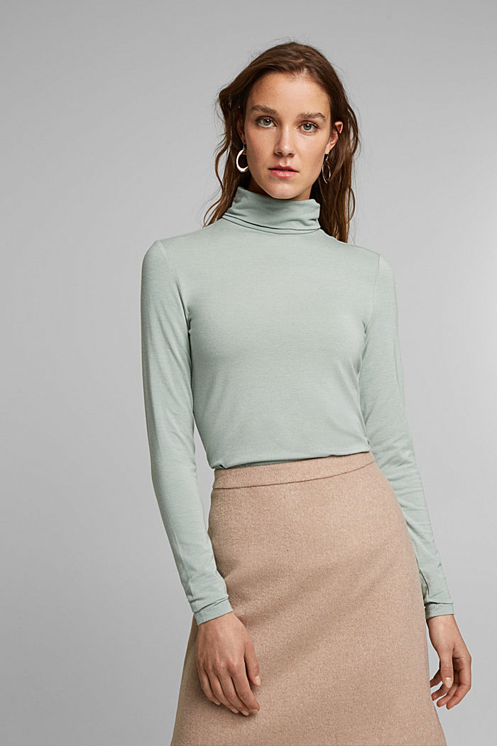 Wool blend: long sleeve top with LENZING™ ECOVERO™, PASTEL GREEN, detail image number 0