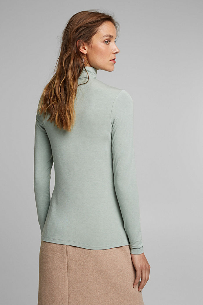 Wool blend: long sleeve top with LENZING™ ECOVERO™, PASTEL GREEN, detail image number 3