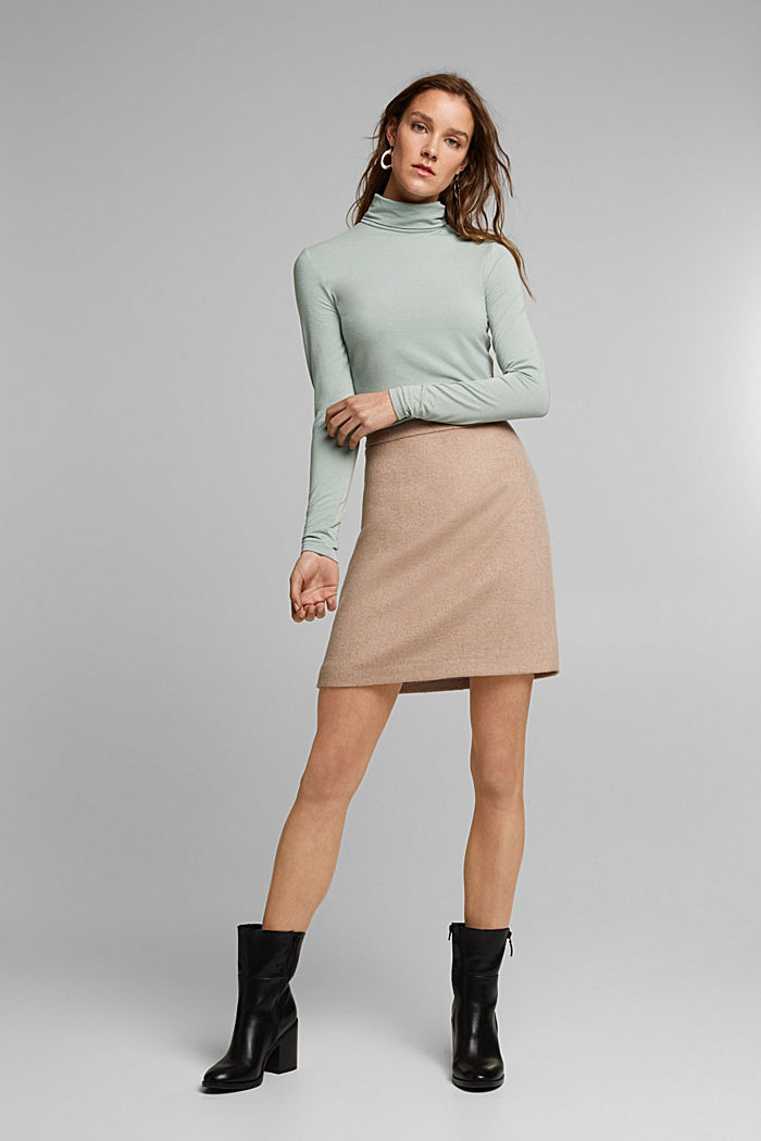 Wool blend: long sleeve top with LENZING™ ECOVERO™, PASTEL GREEN, detail image number 6