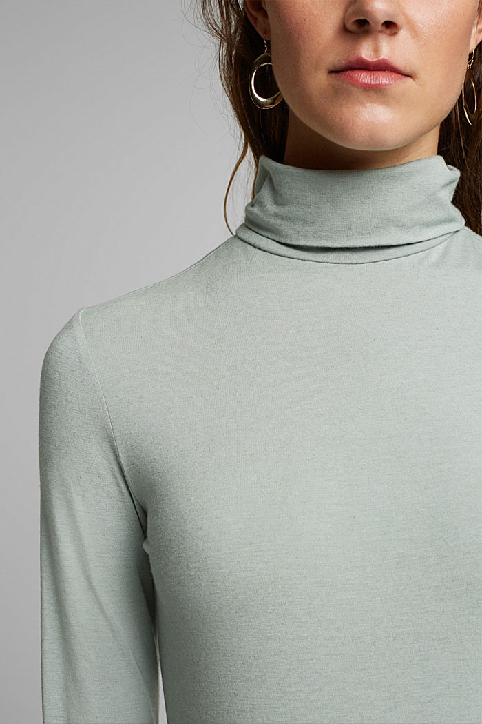 Wool blend: long sleeve top with LENZING™ ECOVERO™, PASTEL GREEN, detail image number 2