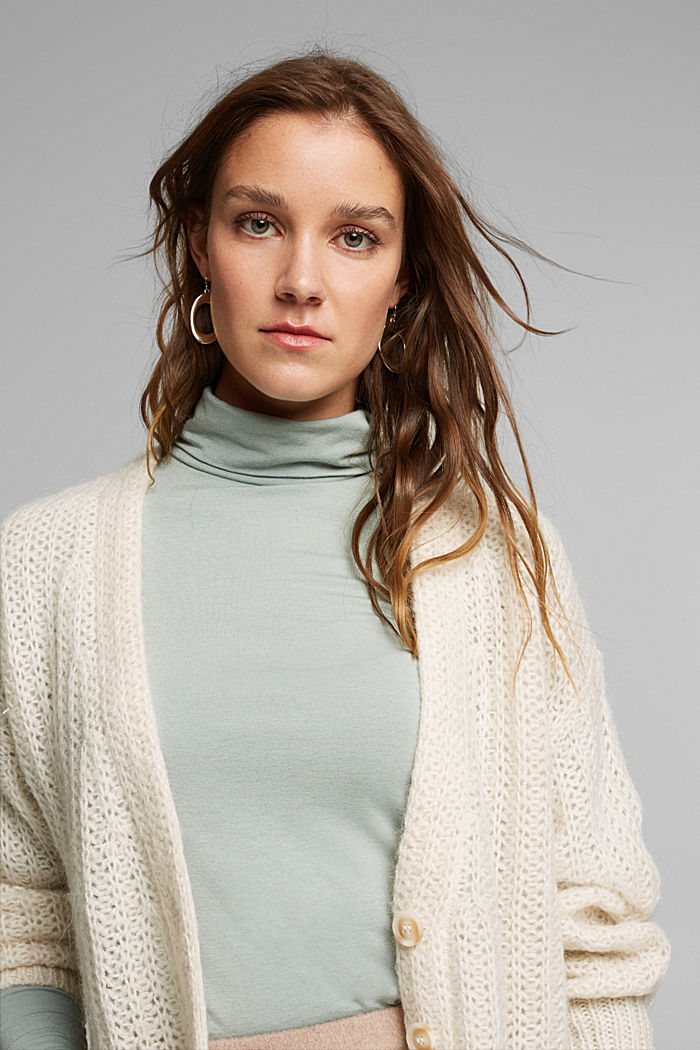 Wool blend: long sleeve top with LENZING™ ECOVERO™, PASTEL GREEN, detail image number 5