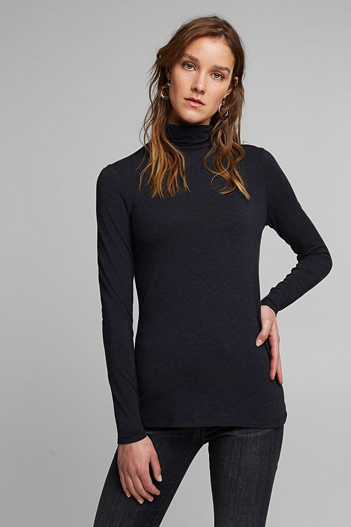 Wool blend: long sleeve top with LENZING™ ECOVERO™, NAVY, detail image number 0