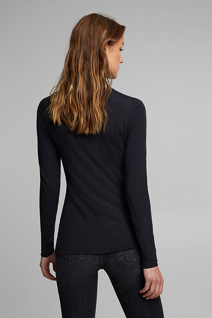 Wool blend: long sleeve top with LENZING™ ECOVERO™, NAVY, detail image number 2