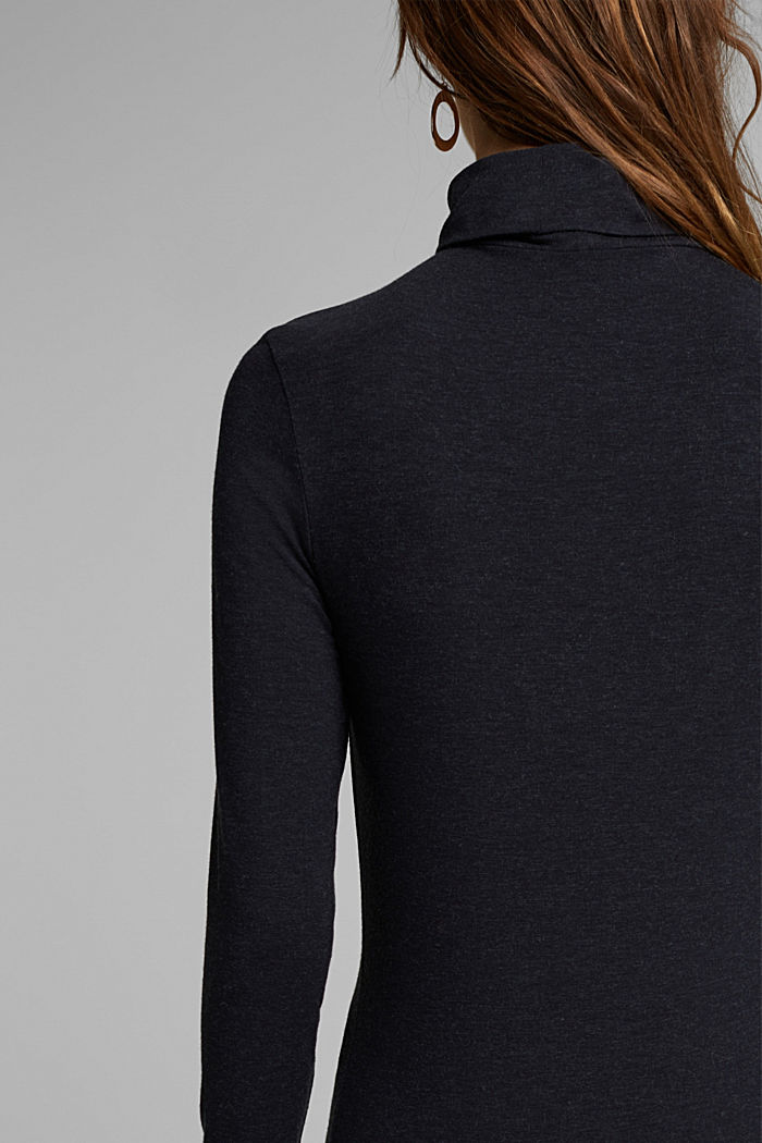 Wool blend: long sleeve top with LENZING™ ECOVERO™, NAVY, detail image number 4
