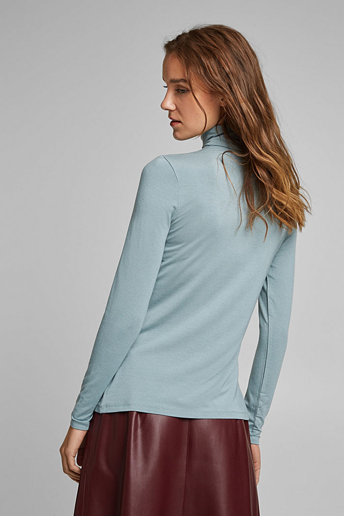 Wool blend: long sleeve top with LENZING™ ECOVERO™, GREY BLUE, detail image number 3