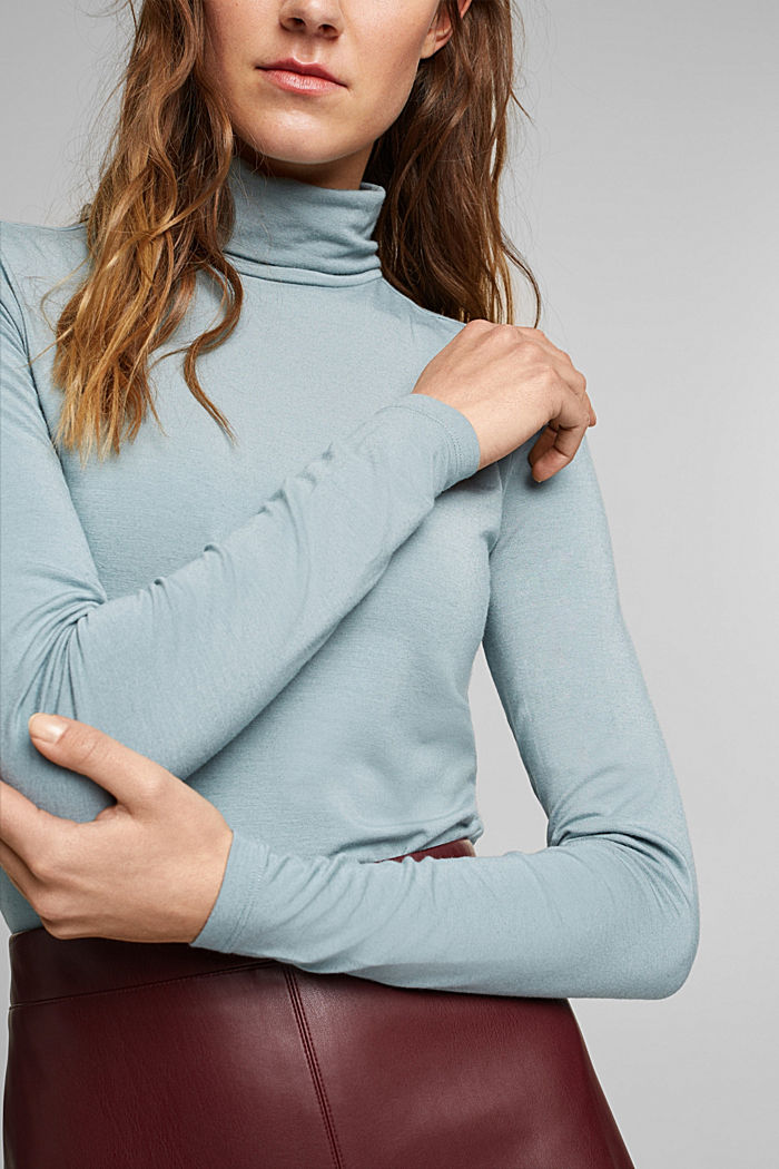 Wool blend: long sleeve top with LENZING™ ECOVERO™, GREY BLUE, detail image number 2