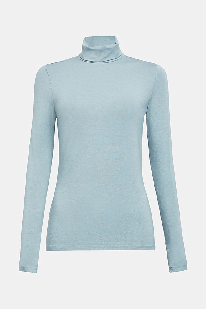 Wool blend: long sleeve top with LENZING™ ECOVERO™, GREY BLUE, overview