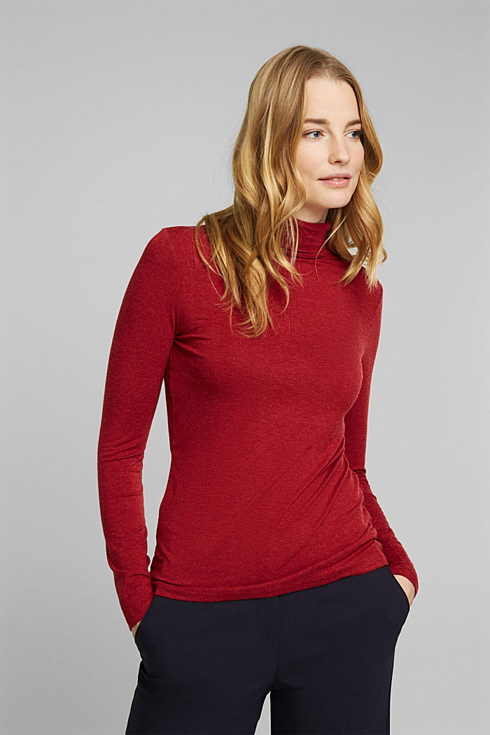 Wool blend: long sleeve top with LENZING™ ECOVERO™, DARK RED, detail image number 0