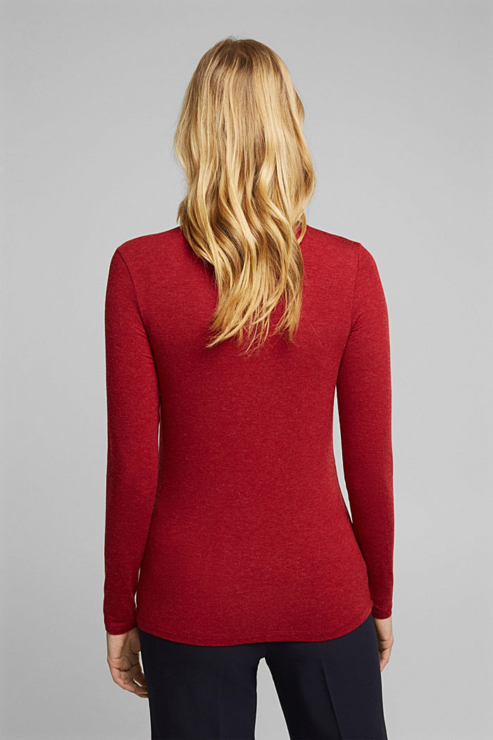 Wool blend: long sleeve top with LENZING™ ECOVERO™, DARK RED, detail image number 3