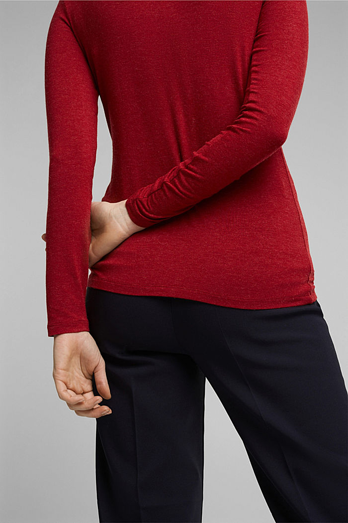 Wool blend: long sleeve top with LENZING™ ECOVERO™, DARK RED, detail image number 2