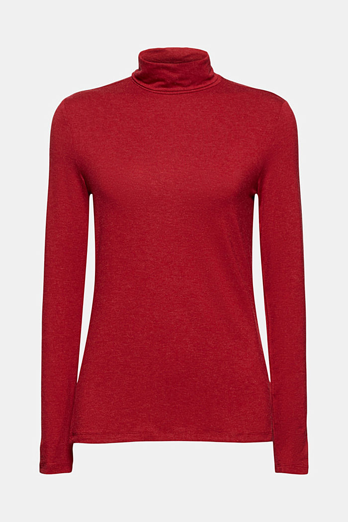 Wool blend: long sleeve top with LENZING™ ECOVERO™, DARK RED, detail image number 7