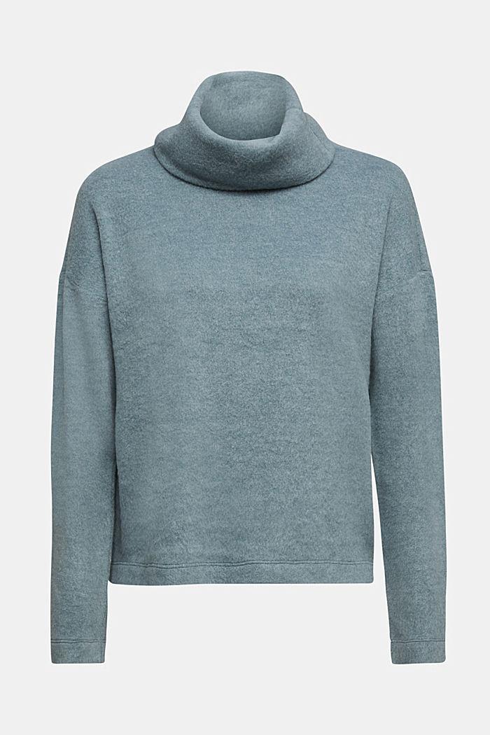 Turtleneck T-shirt made of brushed jersey, GREY BLUE, detail image number 6