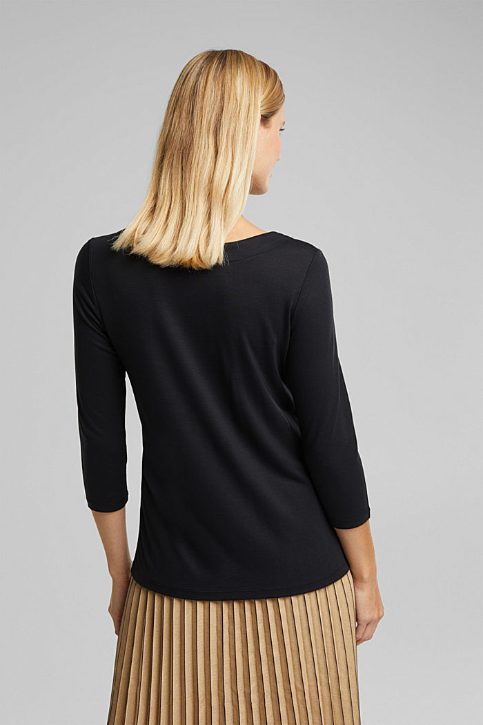 Long sleeve top made of 100% lyocell, BLACK, detail image number 3
