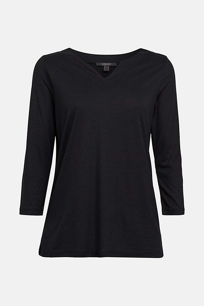 Long sleeve top made of 100% lyocell, BLACK, detail image number 5