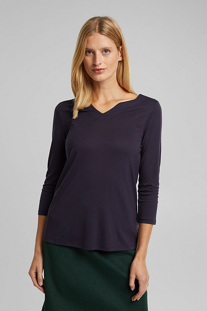 Long sleeve top made of 100% lyocell, NAVY, detail image number 0