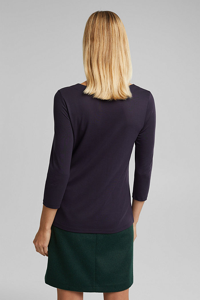 Long sleeve top made of 100% lyocell, NAVY, detail image number 3