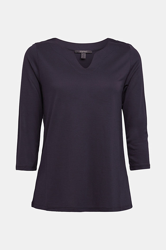 Long sleeve top made of 100% lyocell, NAVY, detail image number 6