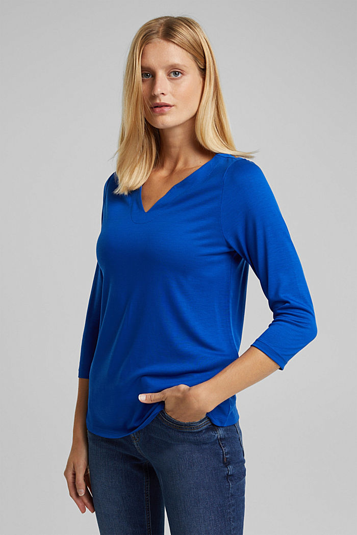 Long sleeve top made of 100% lyocell, BRIGHT BLUE, detail image number 0