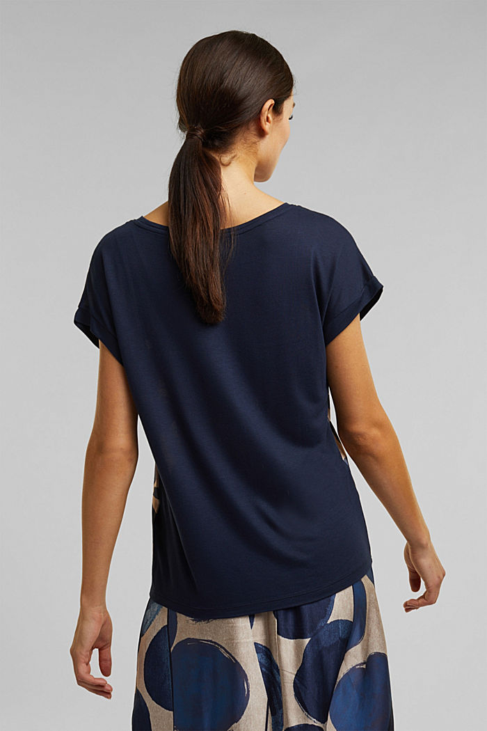 T-shirt made of LENZING™ ECOVERO™, NAVY, detail image number 3