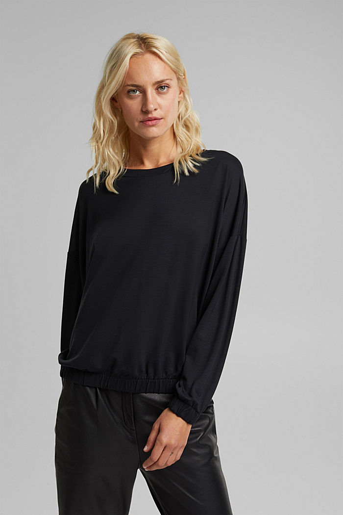 Long sleeve top made of 100% lyocell, BLACK, detail image number 0