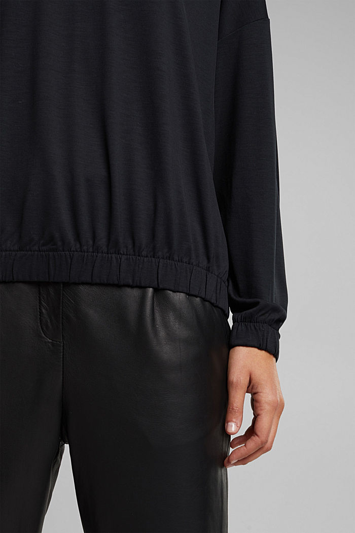 Long sleeve top made of 100% lyocell, BLACK, detail image number 2