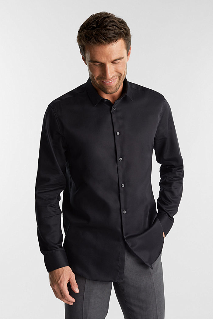 Shirt with a diamond texture, 100% cotton, BLACK, detail image number 0