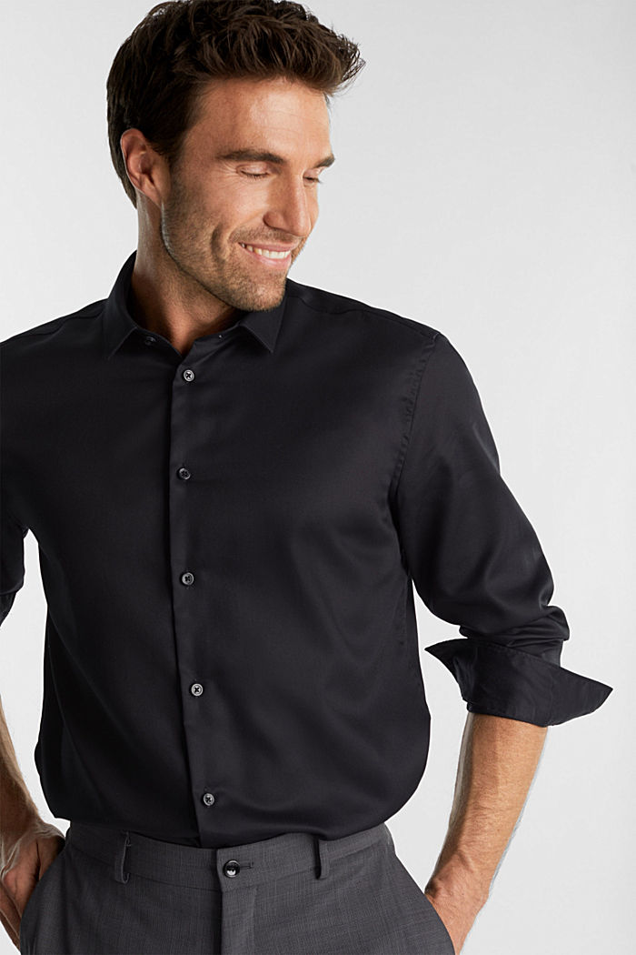 Shirt with a diamond texture, 100% cotton, BLACK, detail image number 5