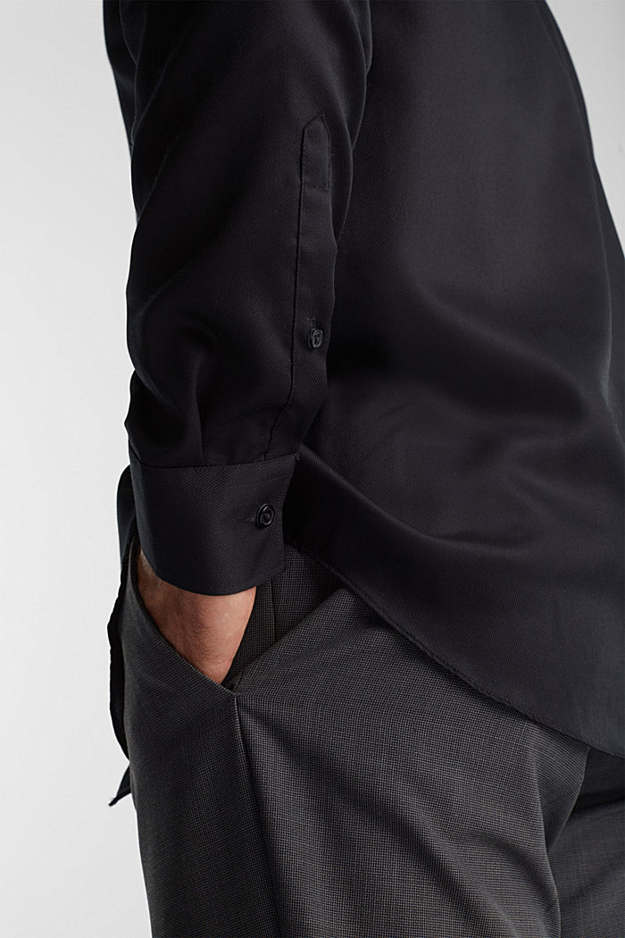 Shirt with a diamond texture, 100% cotton, BLACK, detail image number 2