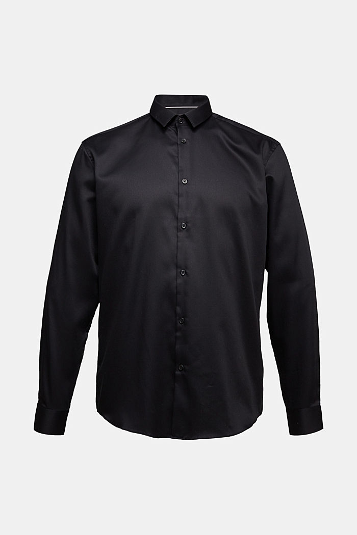 Shirt with a diamond texture, 100% cotton, BLACK, detail image number 7