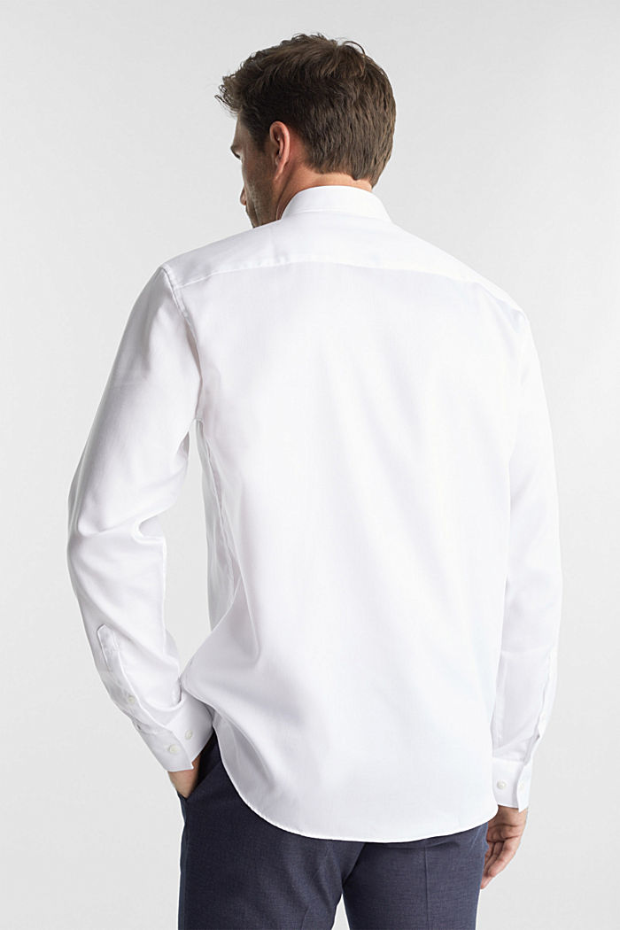 Shirt with a diamond texture, 100% cotton, WHITE, detail image number 3