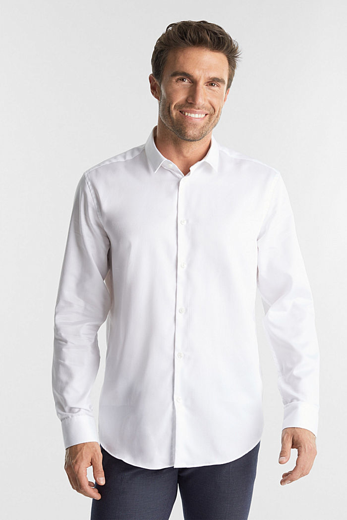 Shirt with a diamond texture, 100% cotton, WHITE, detail image number 5