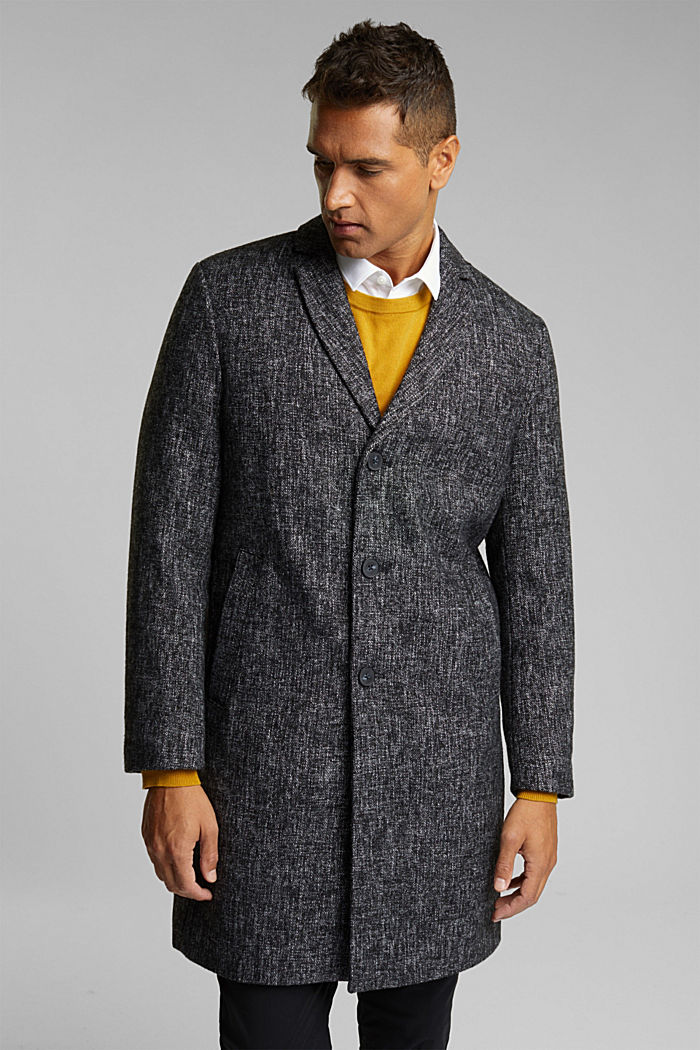 Made of blended wool: coat in a salt and pepper look