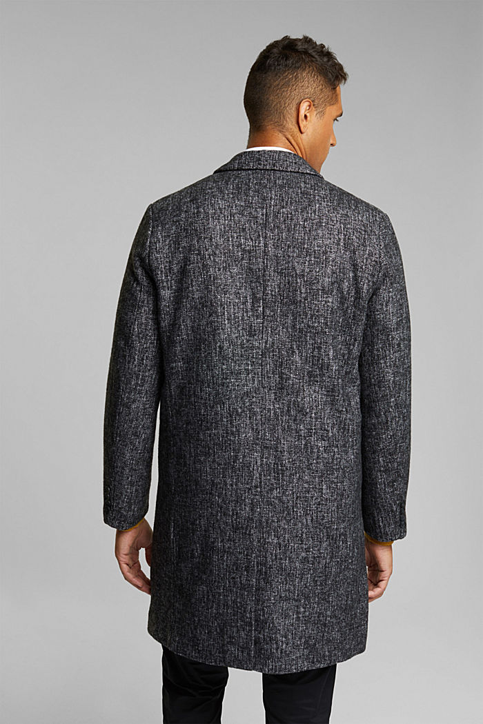 Made of blended wool: coat in a salt and pepper look, ANTHRACITE, detail image number 3