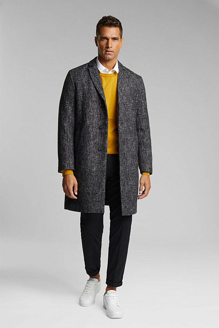 Made of blended wool: coat in a salt and pepper look, ANTHRACITE, detail image number 1