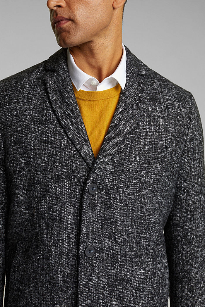 Made of blended wool: coat in a salt and pepper look, ANTHRACITE, detail image number 2