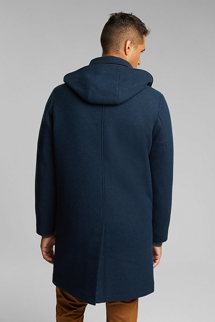 Made of blended wool: Coat with an adjustable hood, DARK BLUE, detail image number 3