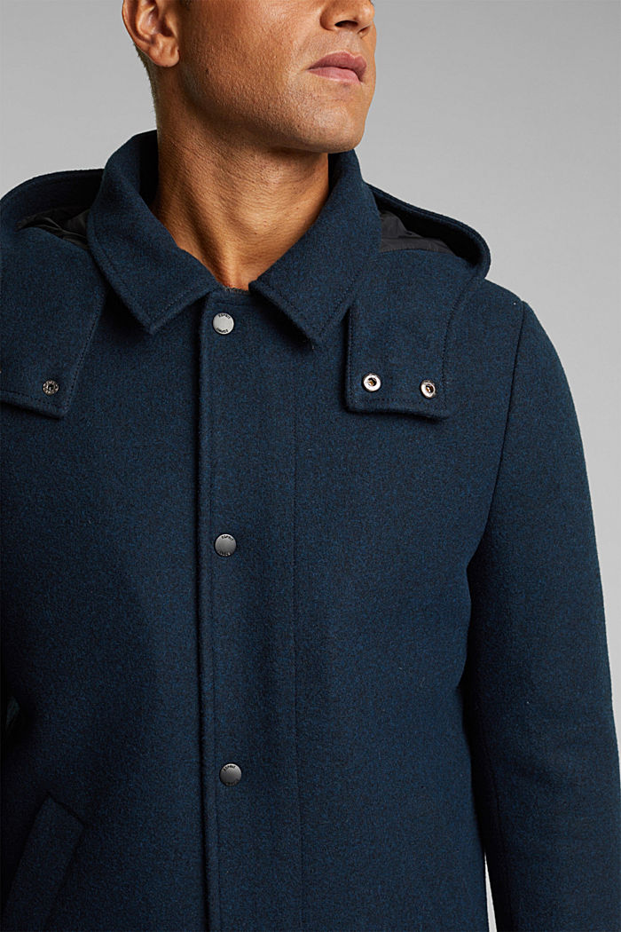 Made of blended wool: Coat with an adjustable hood, DARK BLUE, detail image number 2