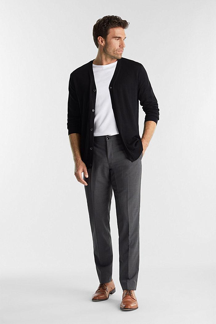 Cardigan made of 100% merino wool, BLACK, detail image number 1