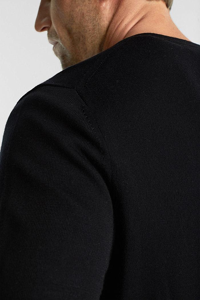Cardigan made of 100% merino wool, BLACK, detail image number 2