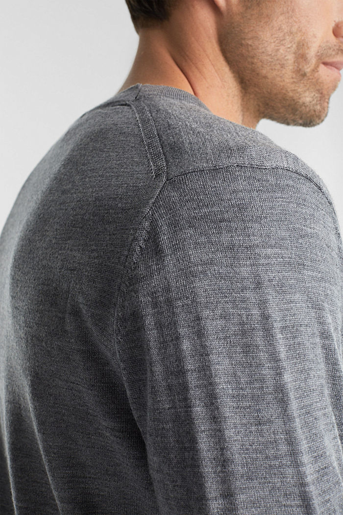 Cardigan made of 100% merino wool, GREY, detail image number 2