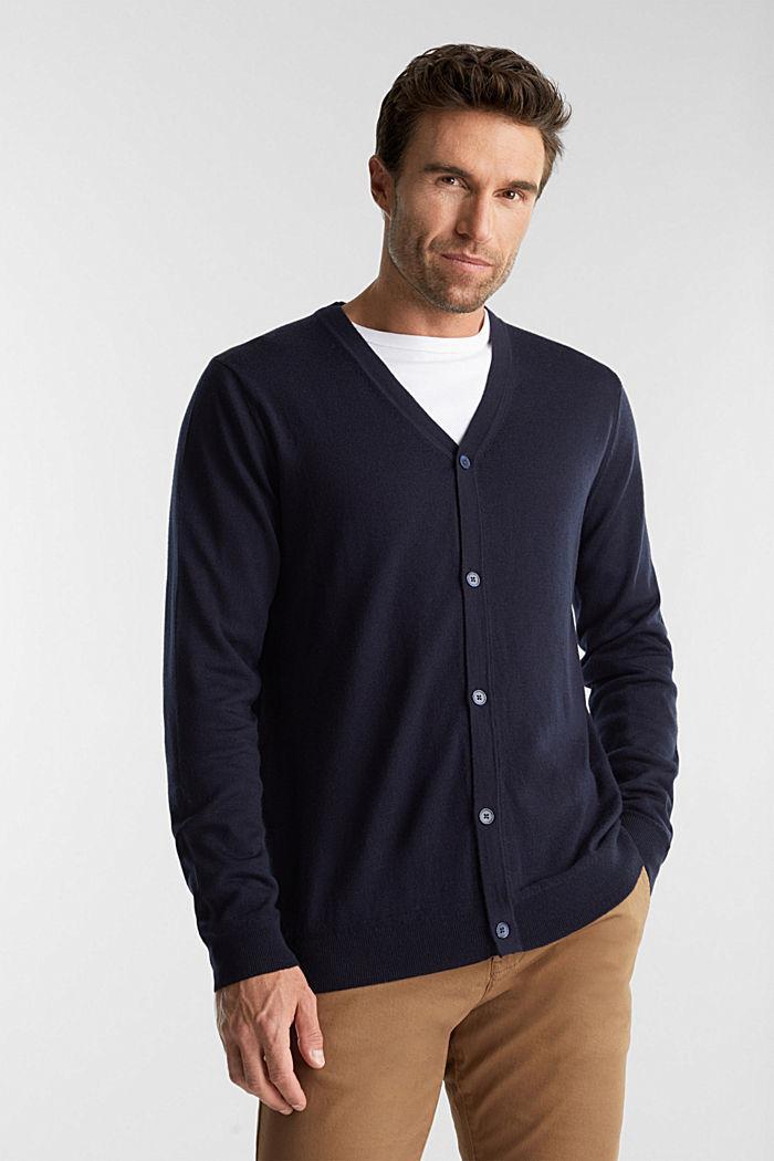 Cardigan made of 100% merino wool, NAVY, detail image number 0