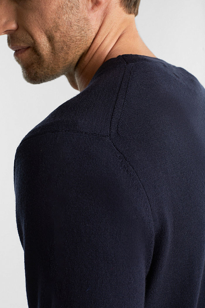 Cardigan made of 100% merino wool, NAVY, detail image number 2