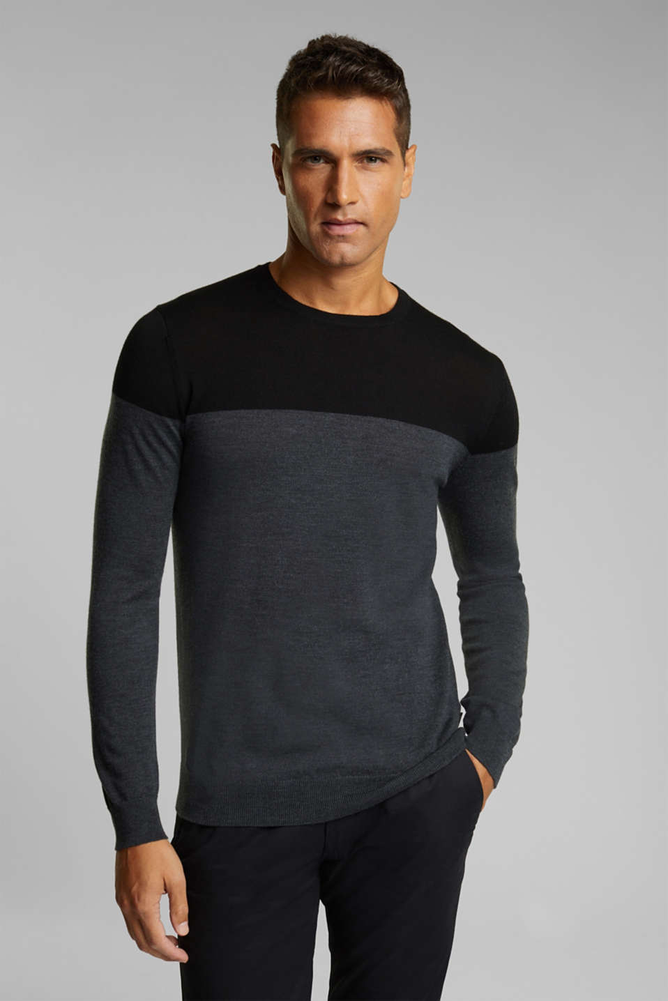 Esprit - 100 % laine mérinos : le pull-over colour blocking